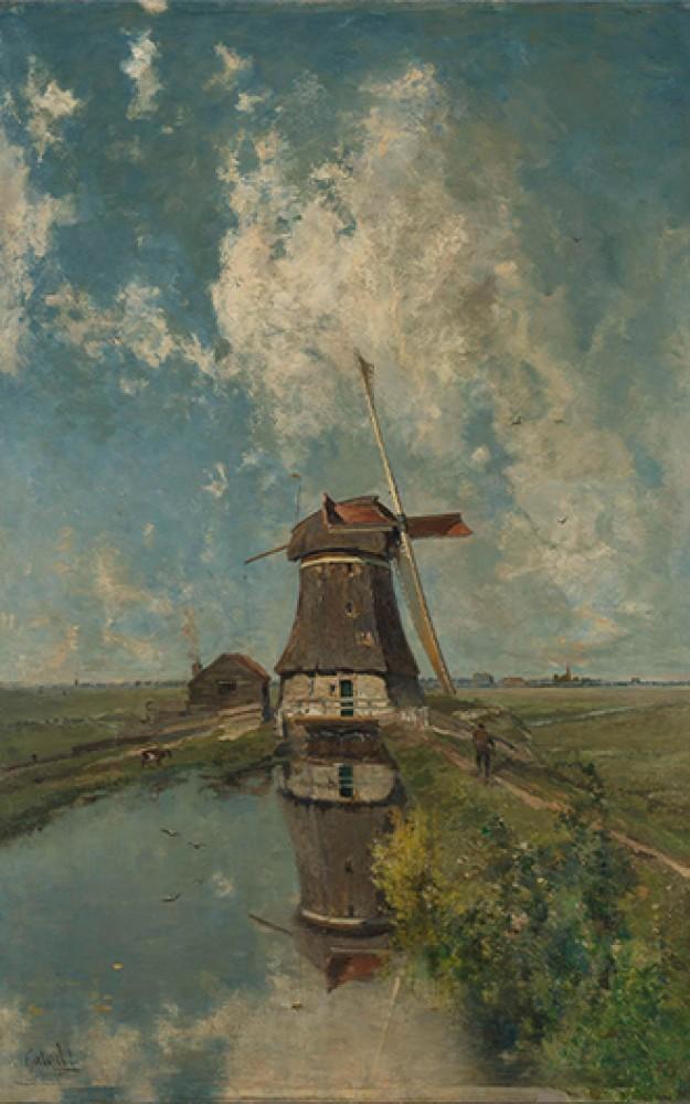 Wiatrak na szlaku wodnym polderu znany jako w lipcu Paula Josepha Constantina Gabriëla
