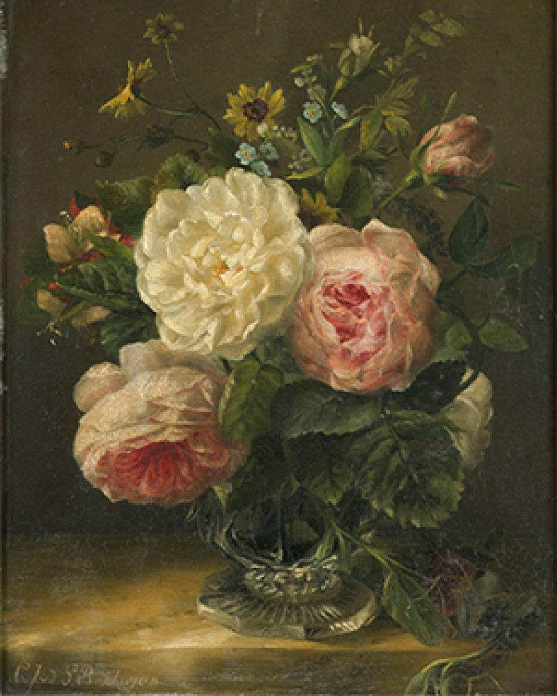 Stilleven spotkał bloemen in een kristallen vaas Gerardina Jacoba van de Sande Bakhuyzen