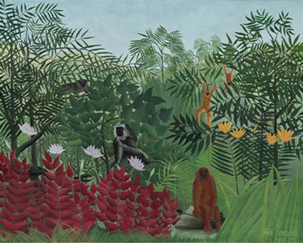 Tropikalny las z małpami Henri Rousseau