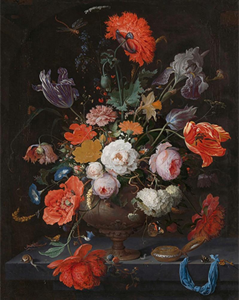 Martwa natura z kwiatami i zegarkiem Abrahama Mignona
