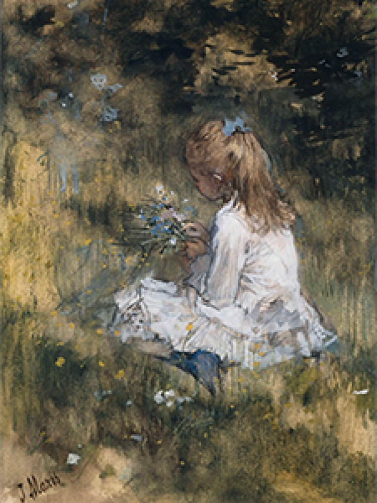 A Girl with Flowers on the Grass Jacob Maris