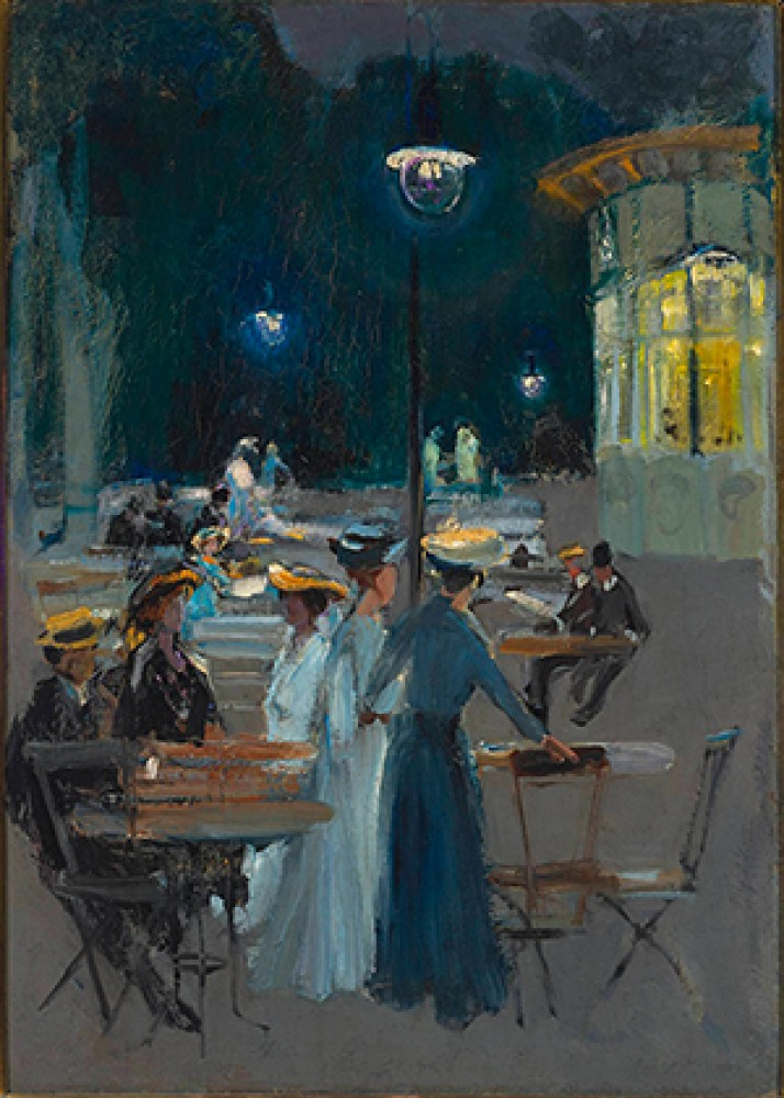 Kawiarnia paryska w nocy Ludwik de Laveaux