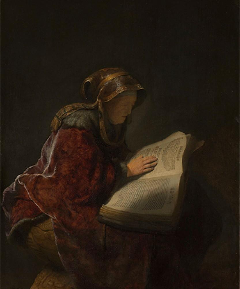 Czytająca stara kobieta, prawdopodobnie prorokini Hannah Rembrandt