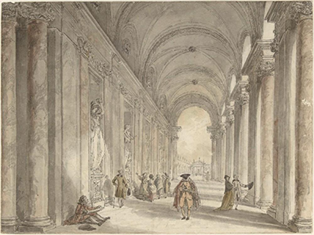 Gezicht in de colonnade voor het casino van de Villa Albani te Rome