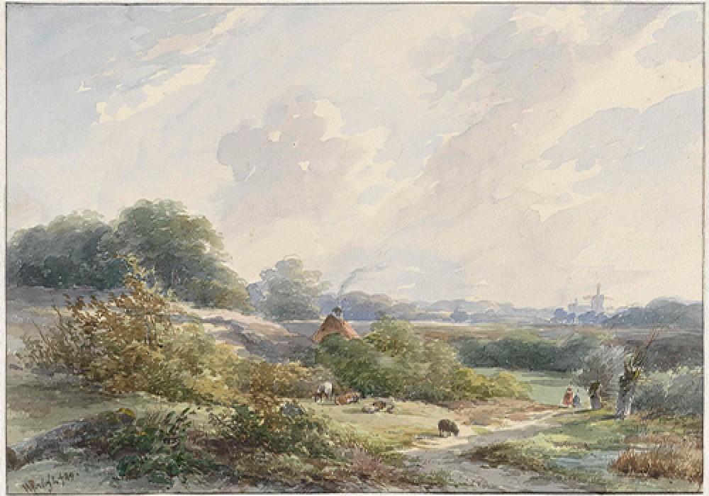 Landschap met boerderij en vee Willem Roelofs I
